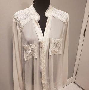 Torrid Sheer Cream Buttom Down with Lace